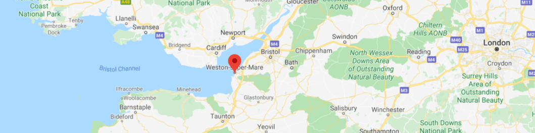 Map pin pointing Weston-super-Mare