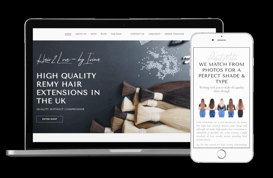 Beautiful Mockup Hair2Love Website Design