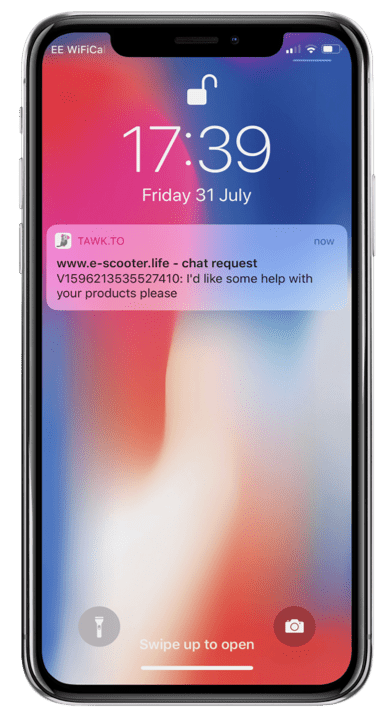 iPhone Notification Live chat