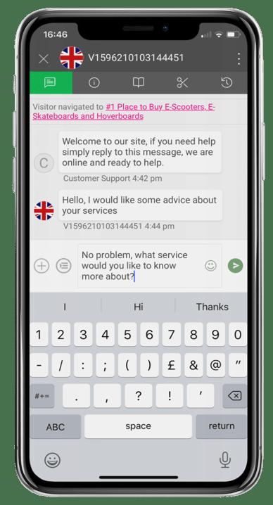 Live-chat web design app