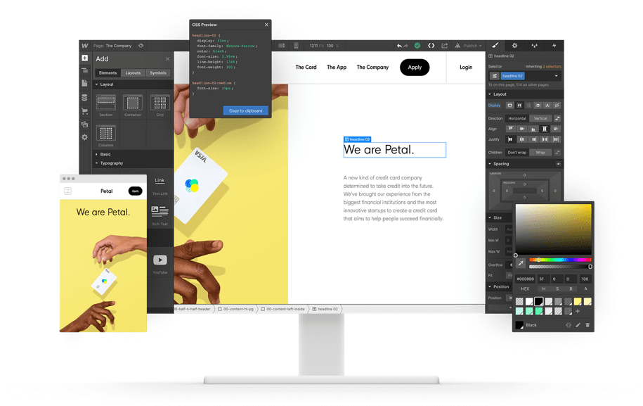 Mockup of Webflow Dashboard