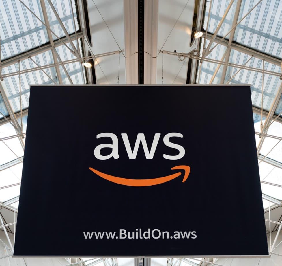 aws logo on sign