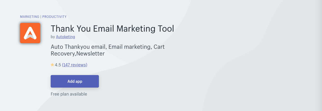 thank you by autoketing shopify app