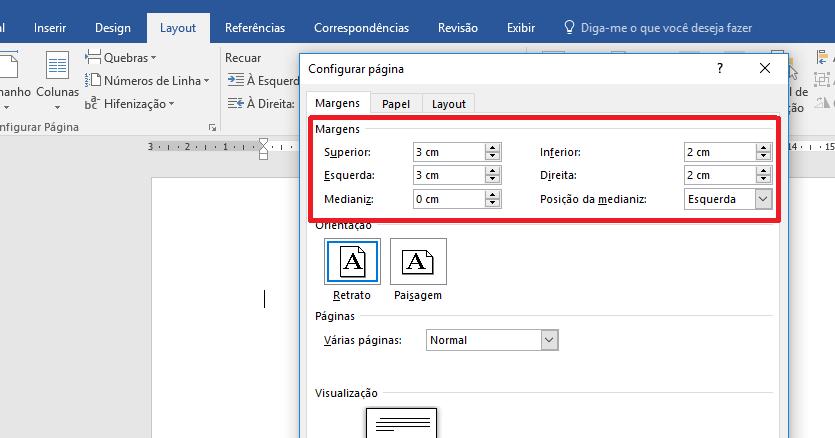 """Imagem de uma tela de documento Word mostrando como configurar (em """"Configurar página"""") as medidas corretas das margens de um trabalho baseado nas regras ABNT."""