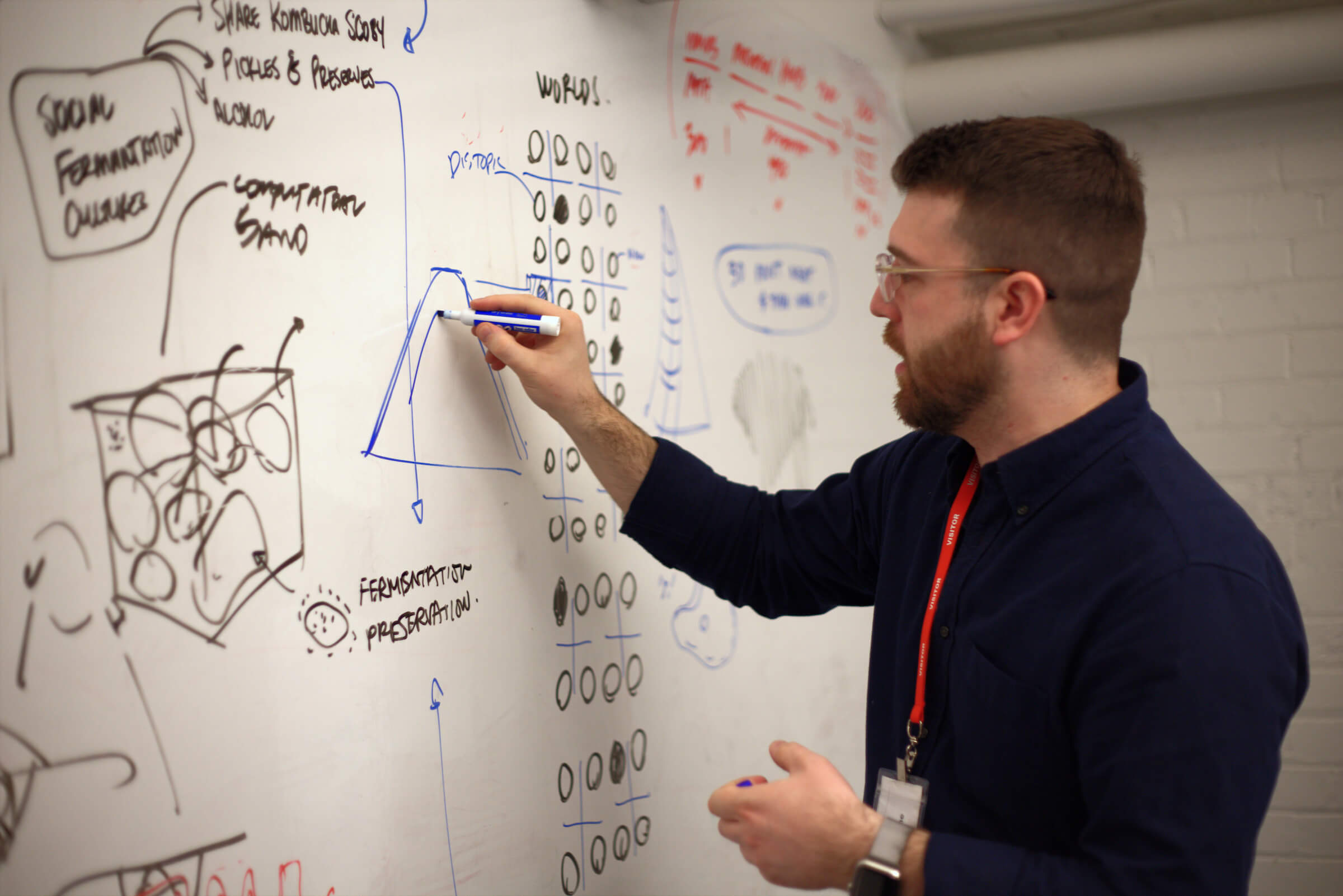 A man draws on a whiteboard covered in project sketches.