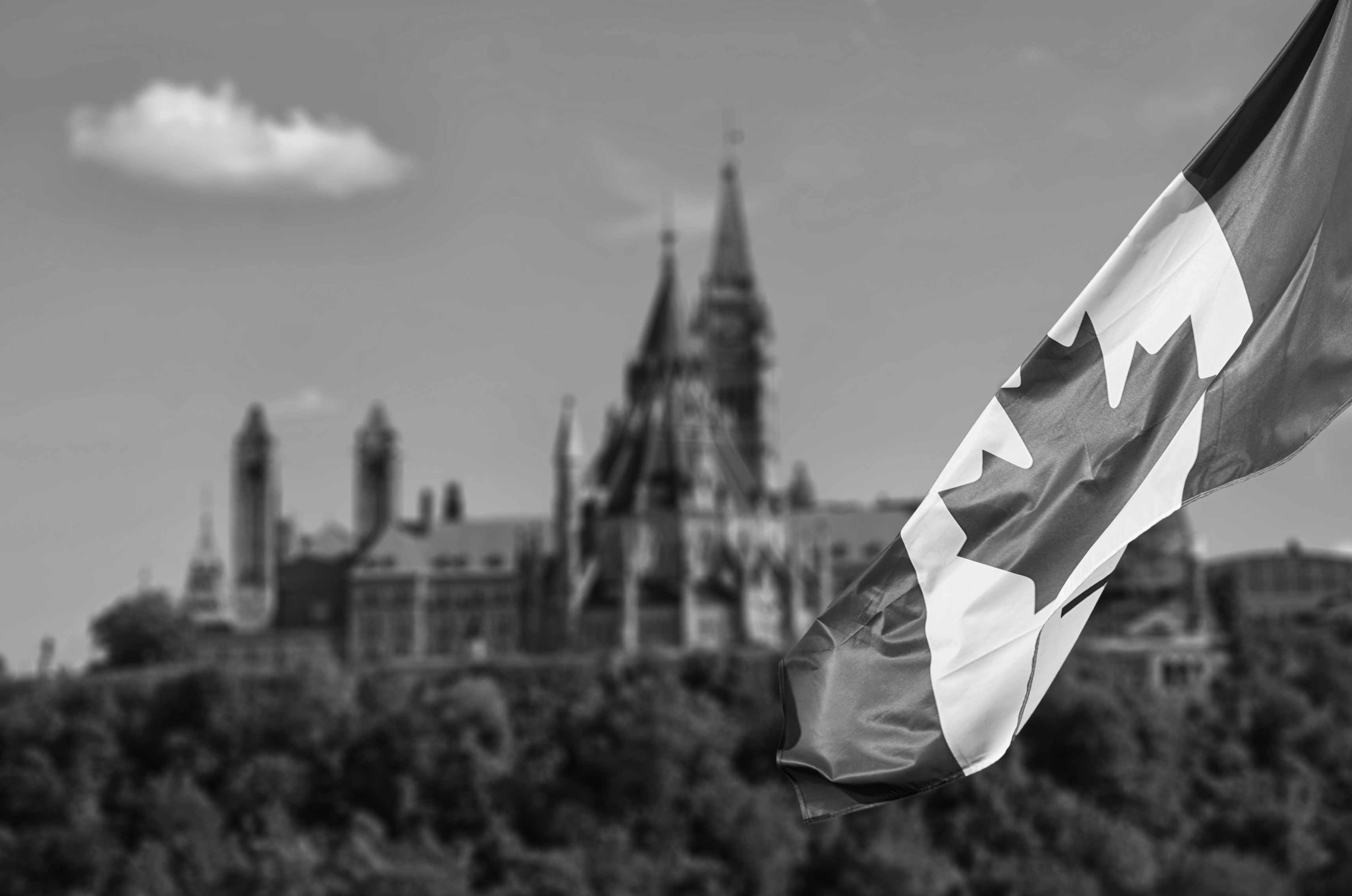 Canadian flag in front of the Canadian Parliament building in Ottawa