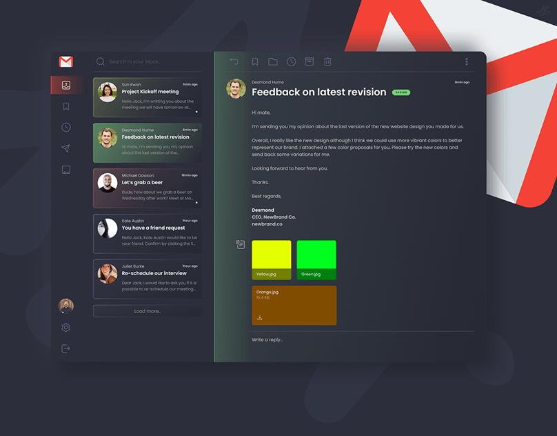 Gmail Redesign · Dark UI Concept · Almási Gergő