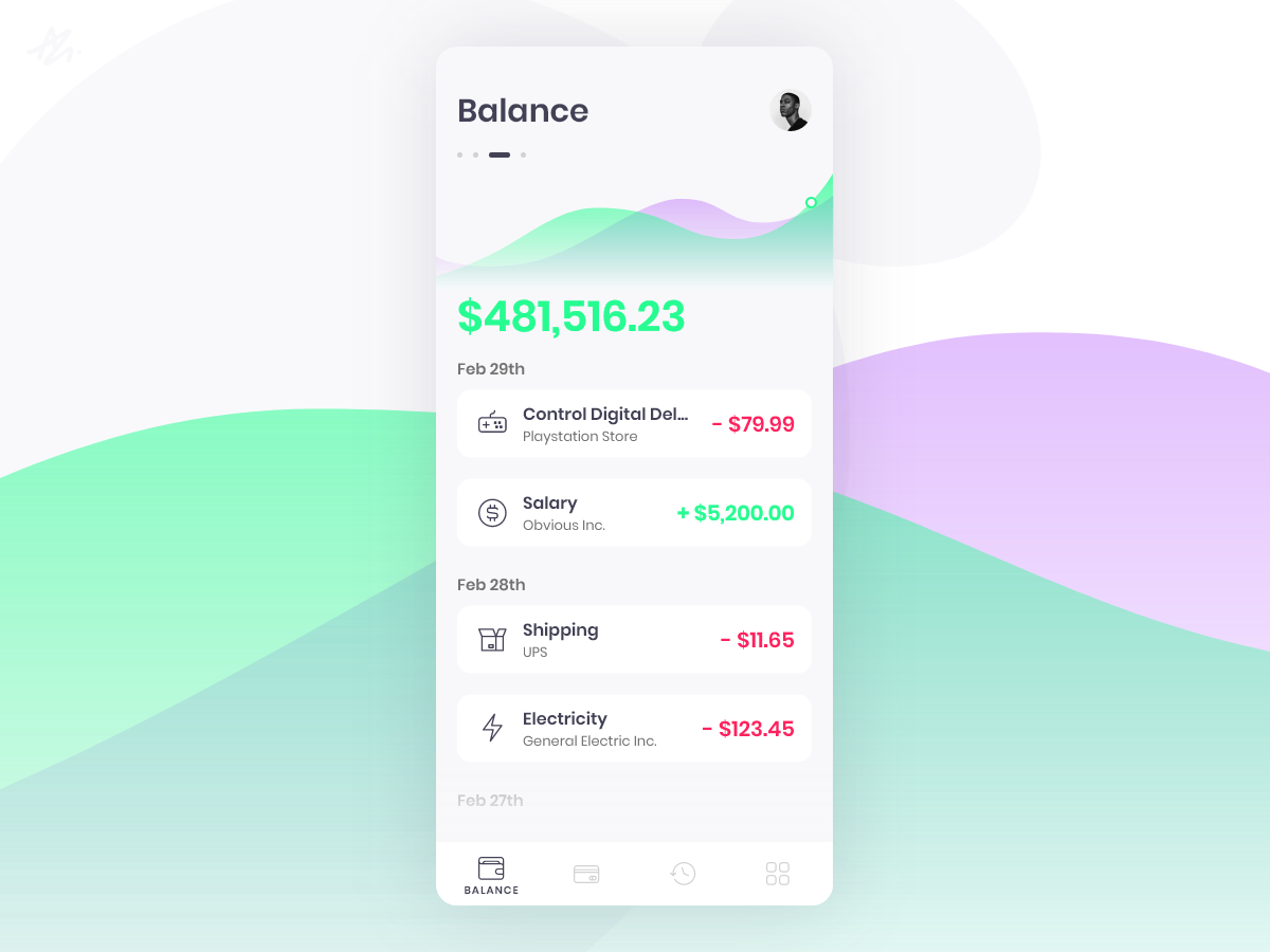 Balance · Wallet app concept · Almási Gergő