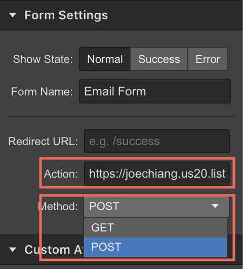 Configure the mailing form in Webflow