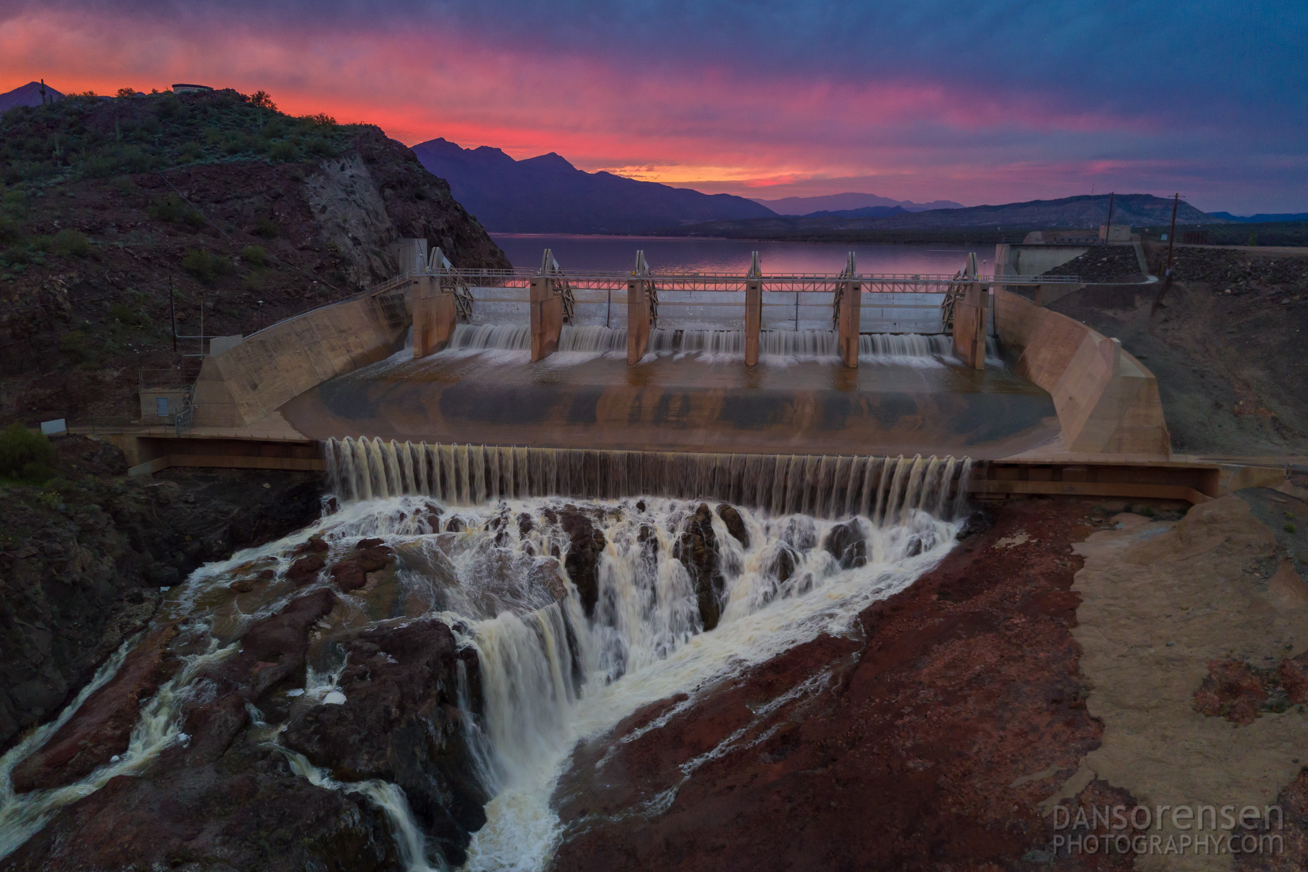 Horseshoe Lake Dam at Sunset