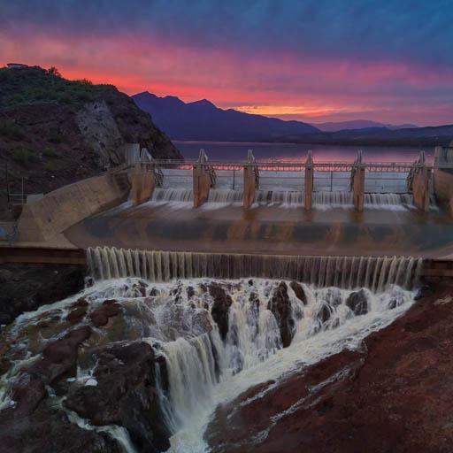 Horseshoe Lake Dam at Sunset