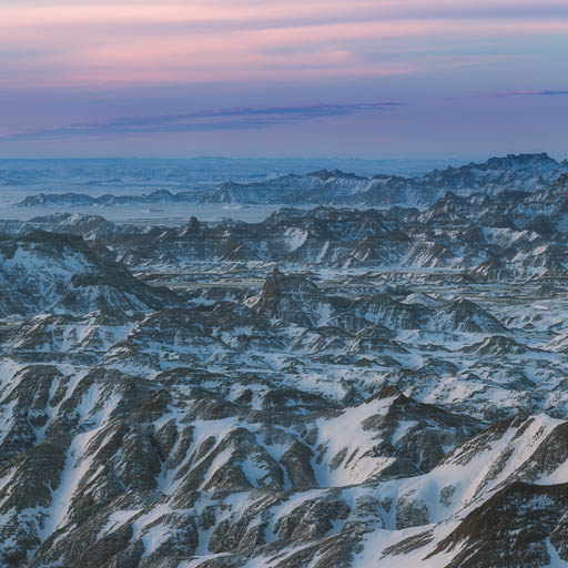 Soft sunrise in the Badlands