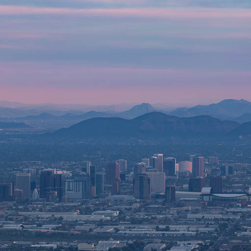 Phoenix Skyline at sunrise from South Mountain Park