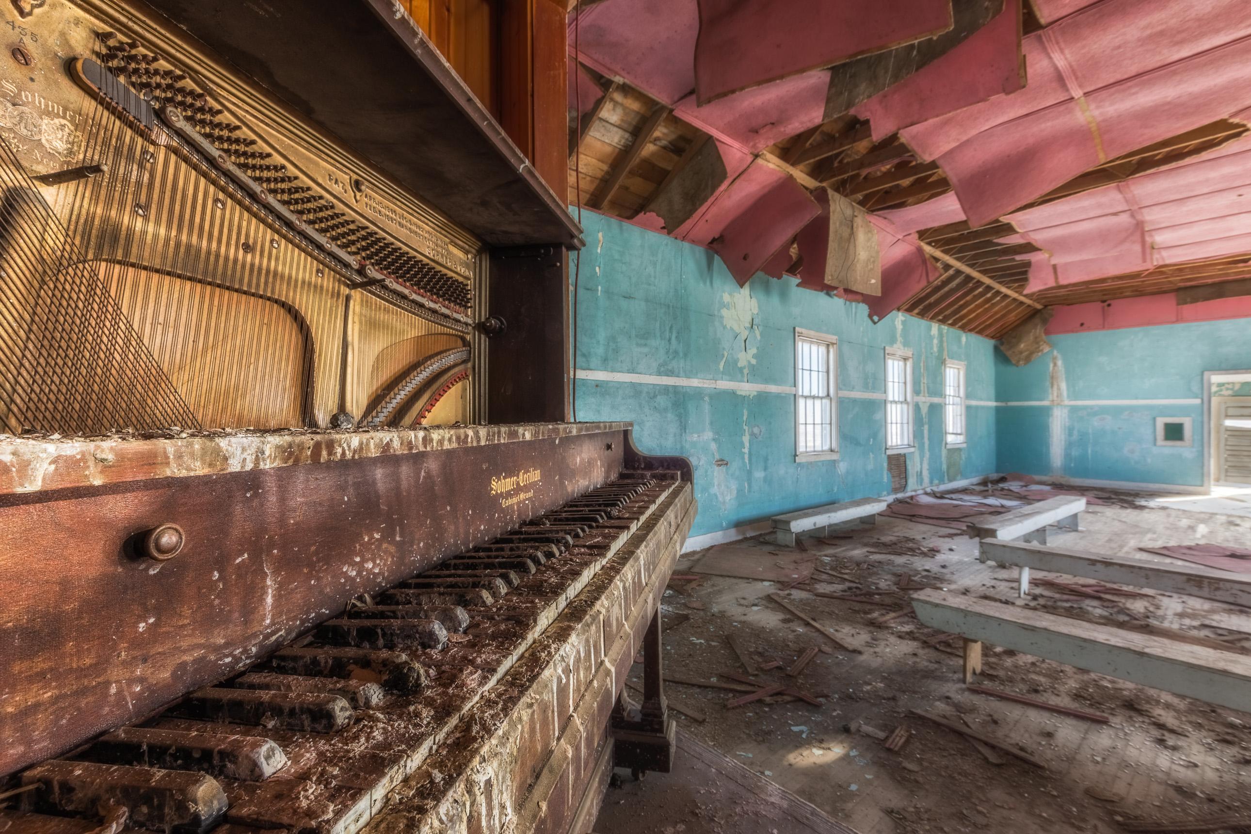 Piano in ZCBJ Hall of Hemingford, Nebraska