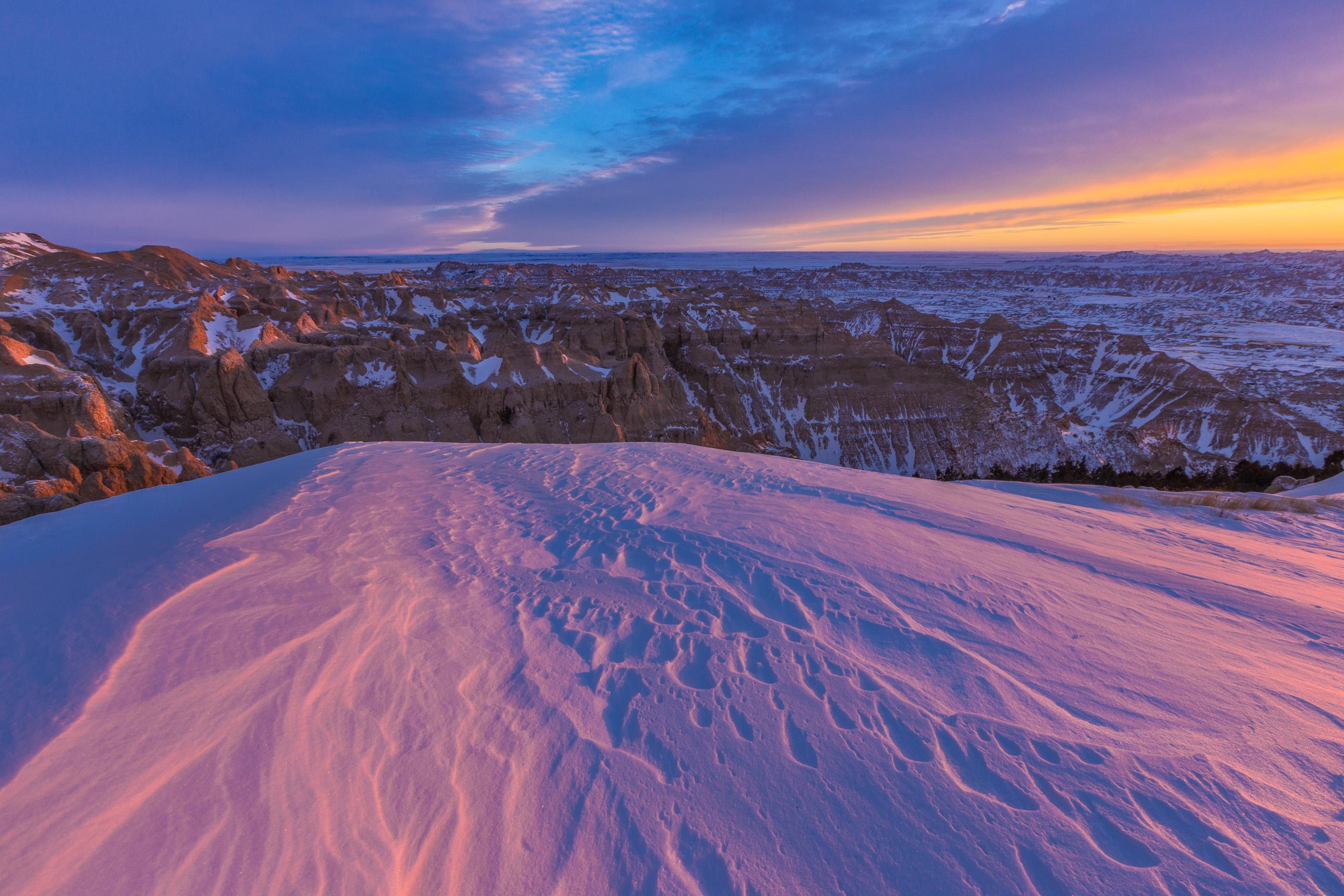 Winter sunset at Badlands National Park
