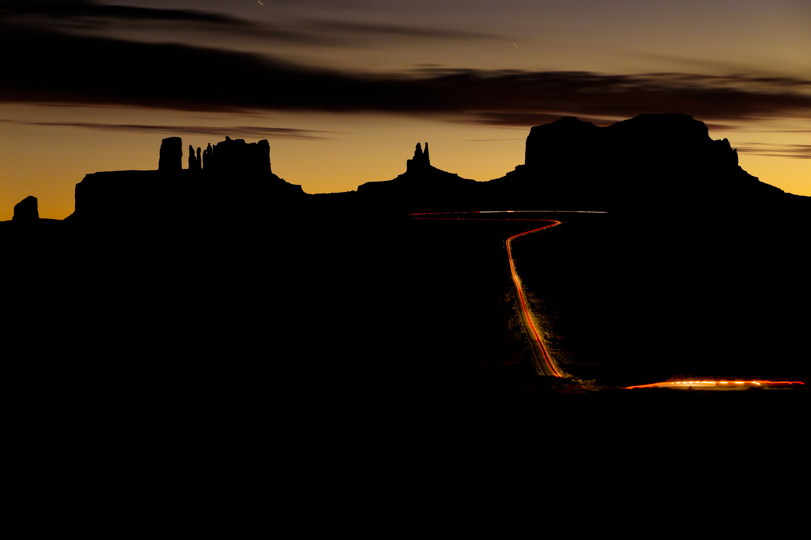Light Trails Through Monument Valley
