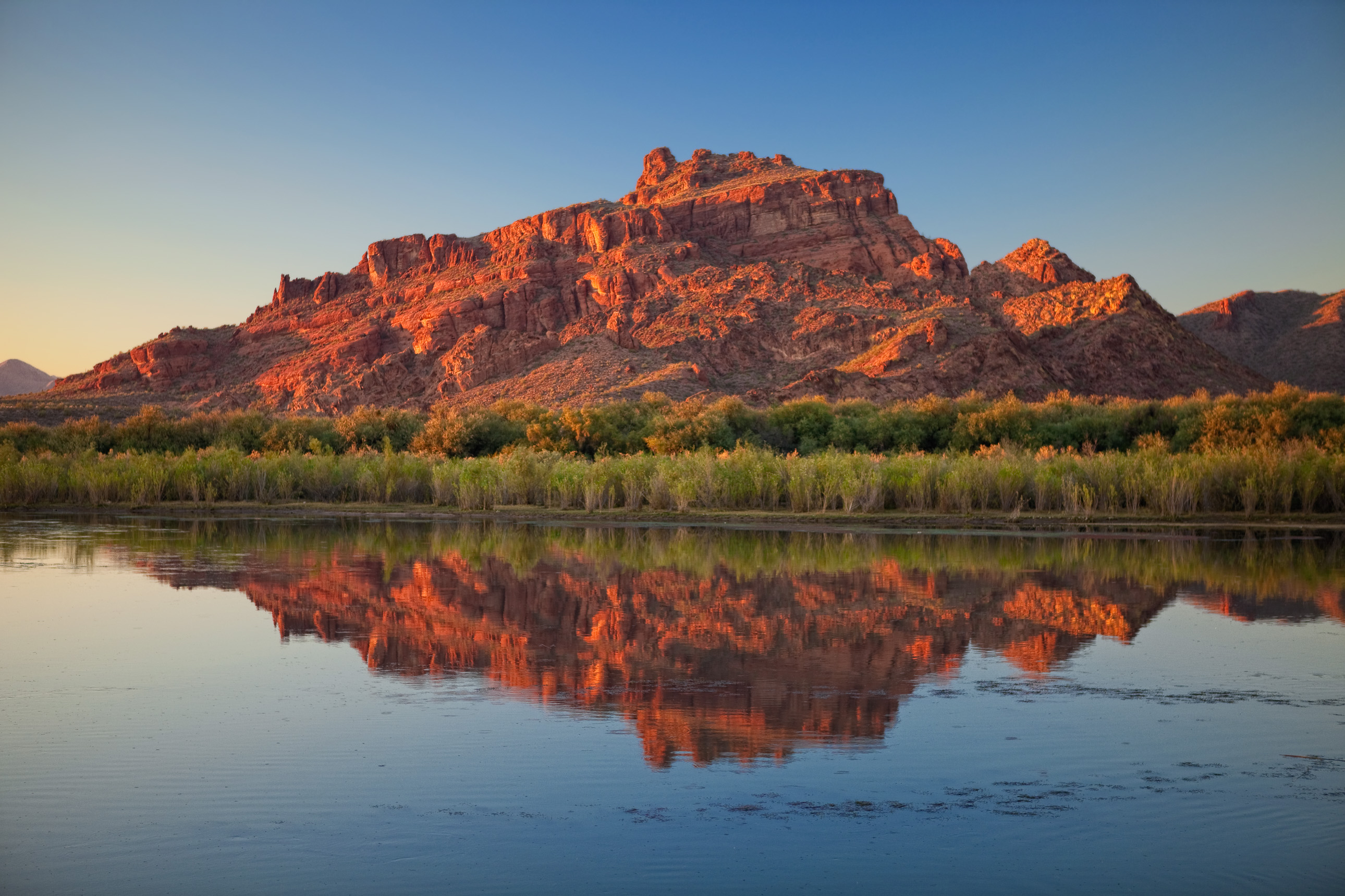 Red Mountain reflecting on the Salt River