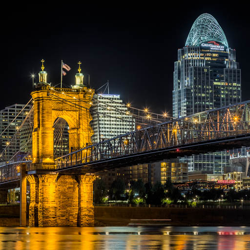 Cincinnati's Roebling Bridge at Night