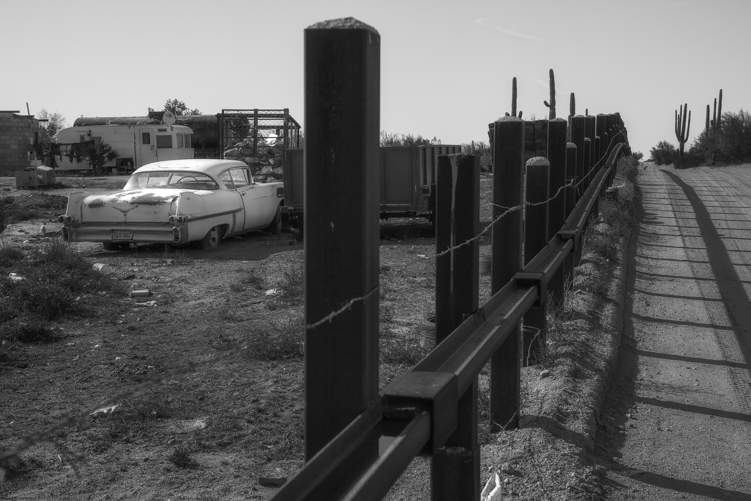 1957 Cadillac along the Mexican border