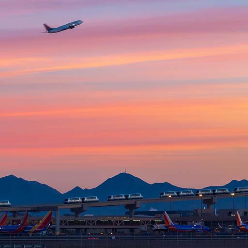 Phoenix Sky Harbor Sky Train at sunrise