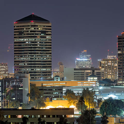 Midtown Phoenix and Phoenix Plaza at night