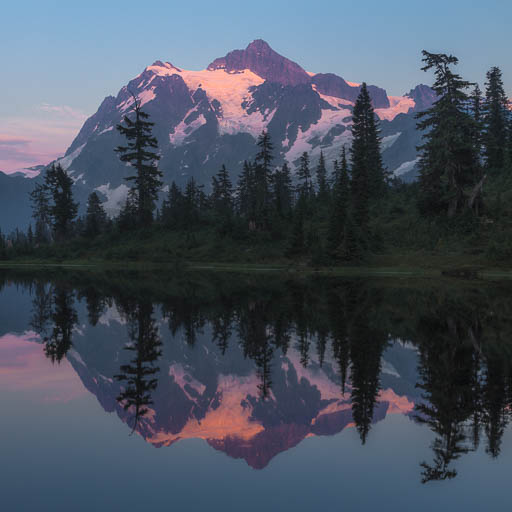 Picture Lake and Mount Shuksan at sunset