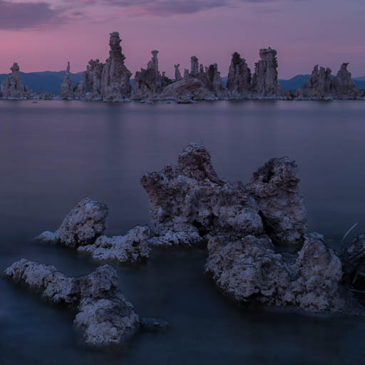 Mono Lake tufa formations at sunset