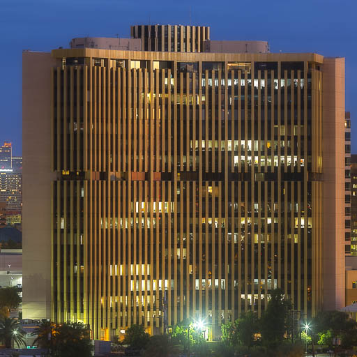 Punchcard Building in Phoenix glowing at night
