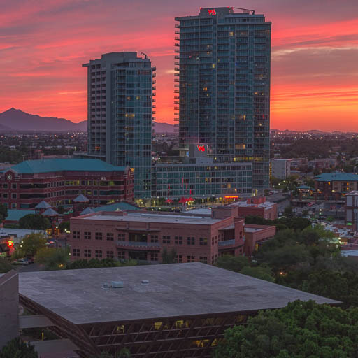 Incredible sunset over Tempe and the West 6th Towers