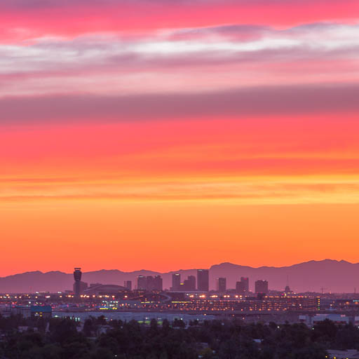 Downtown Phoenix skyline at sunset from Tempe