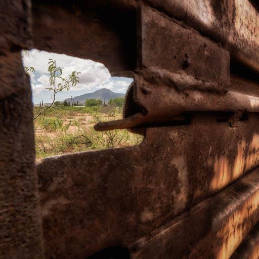 Looking Through the Border Fence into Mexico