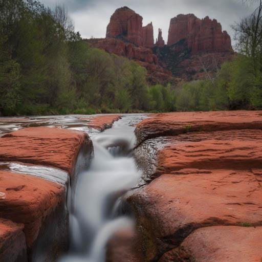 Oak Creek flowing below Cathedral Rock