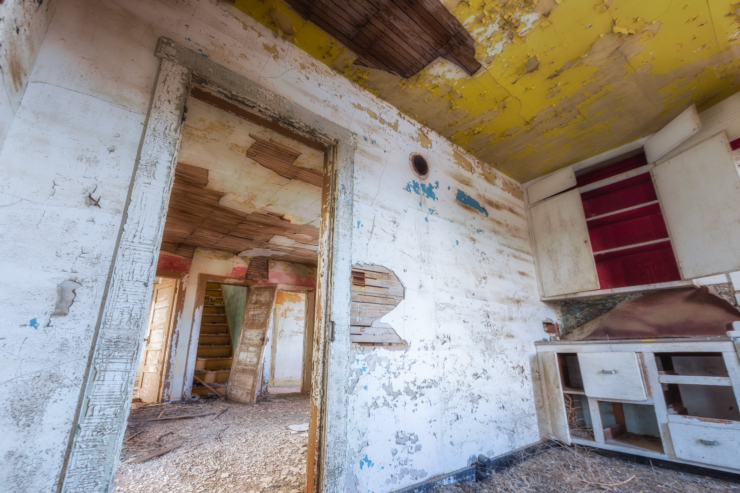 Kitchen of an abandoned farm house