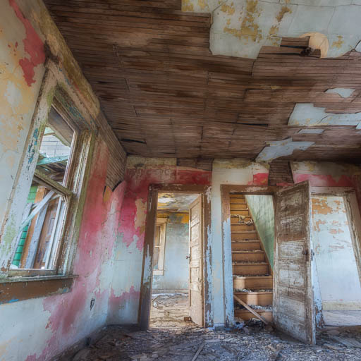 Living room of an abandoned farm house
