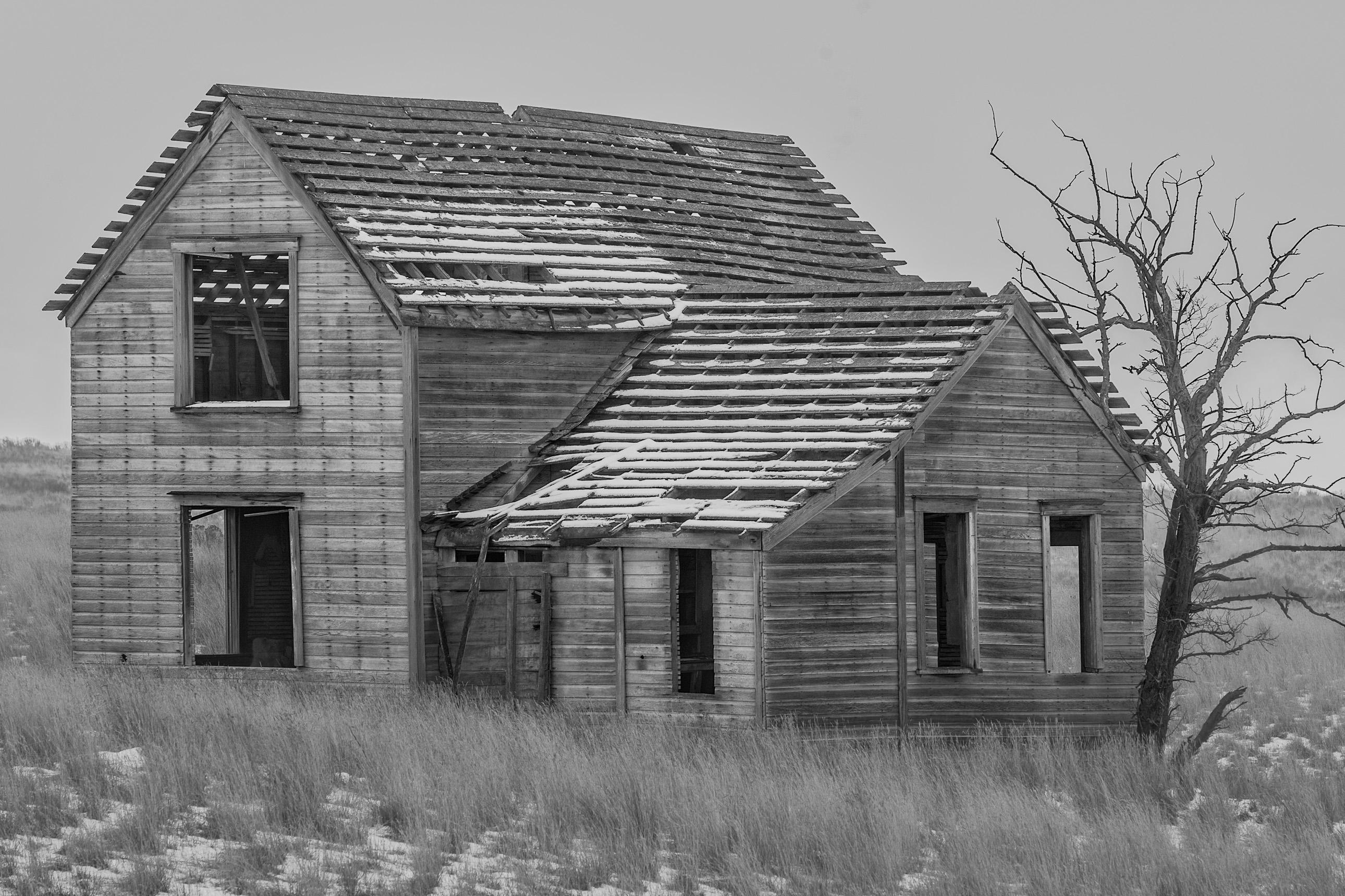 Creepy abandoned house on a farm
