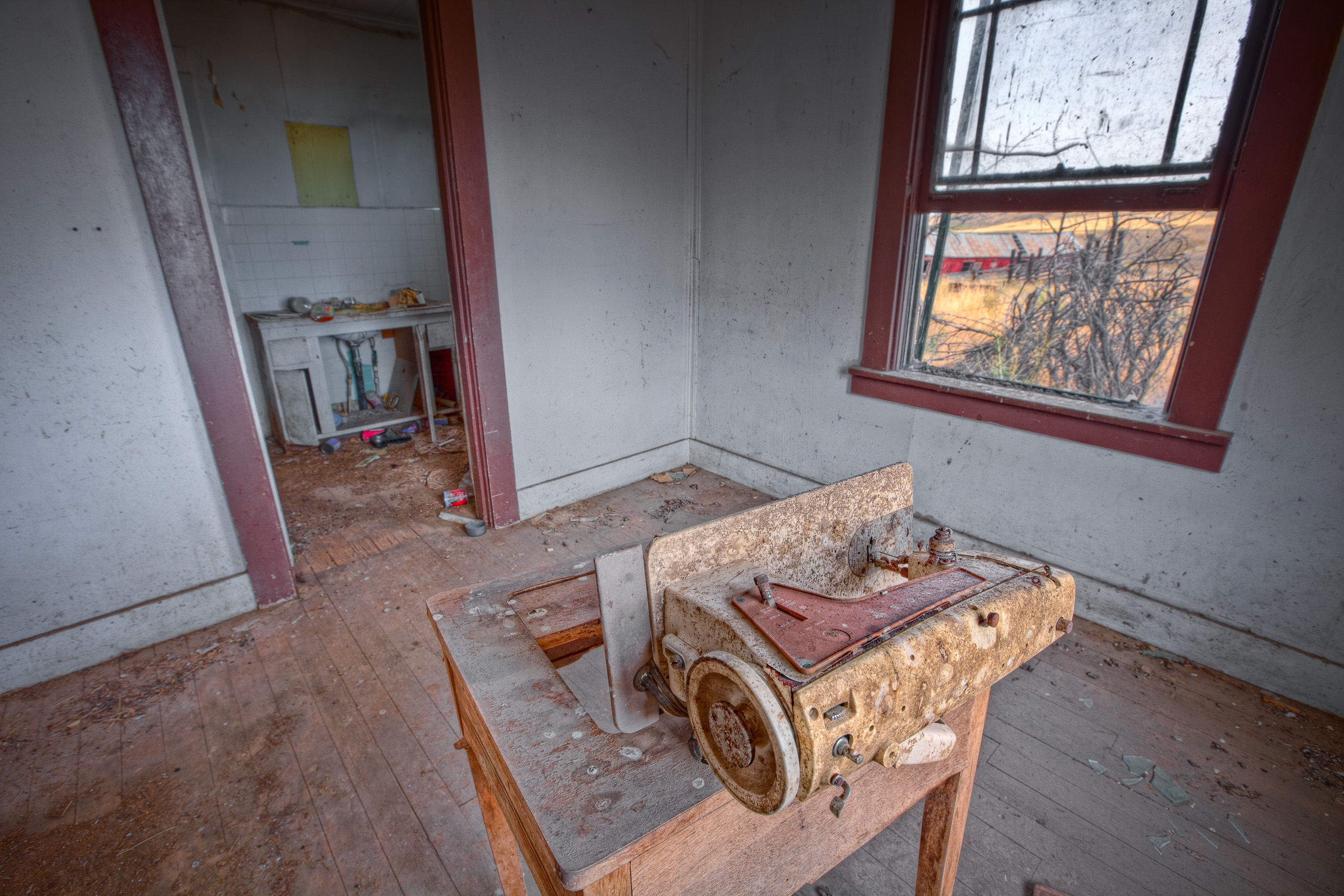 Sewing machine in an abandoned house
