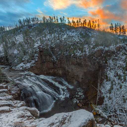 Gibbon Falls at sunrise in Yellowstone National Park