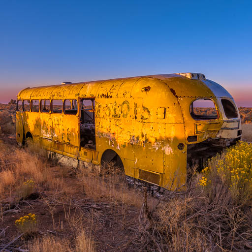 Abandoned bus and truck in Idaho