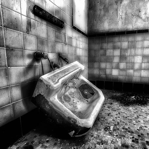 Sink in an abandoned bathroom