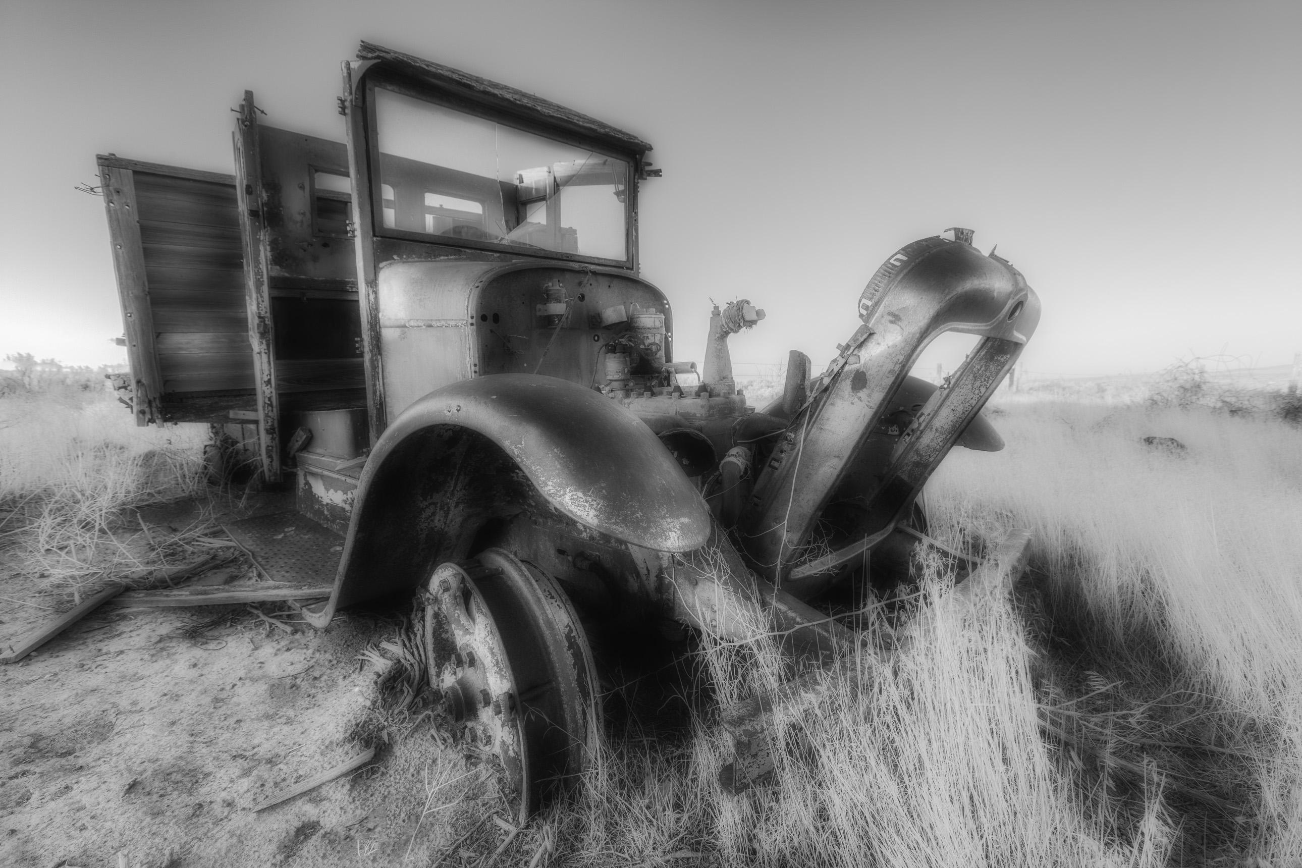 Abandoned work truck in Hollister Idaho