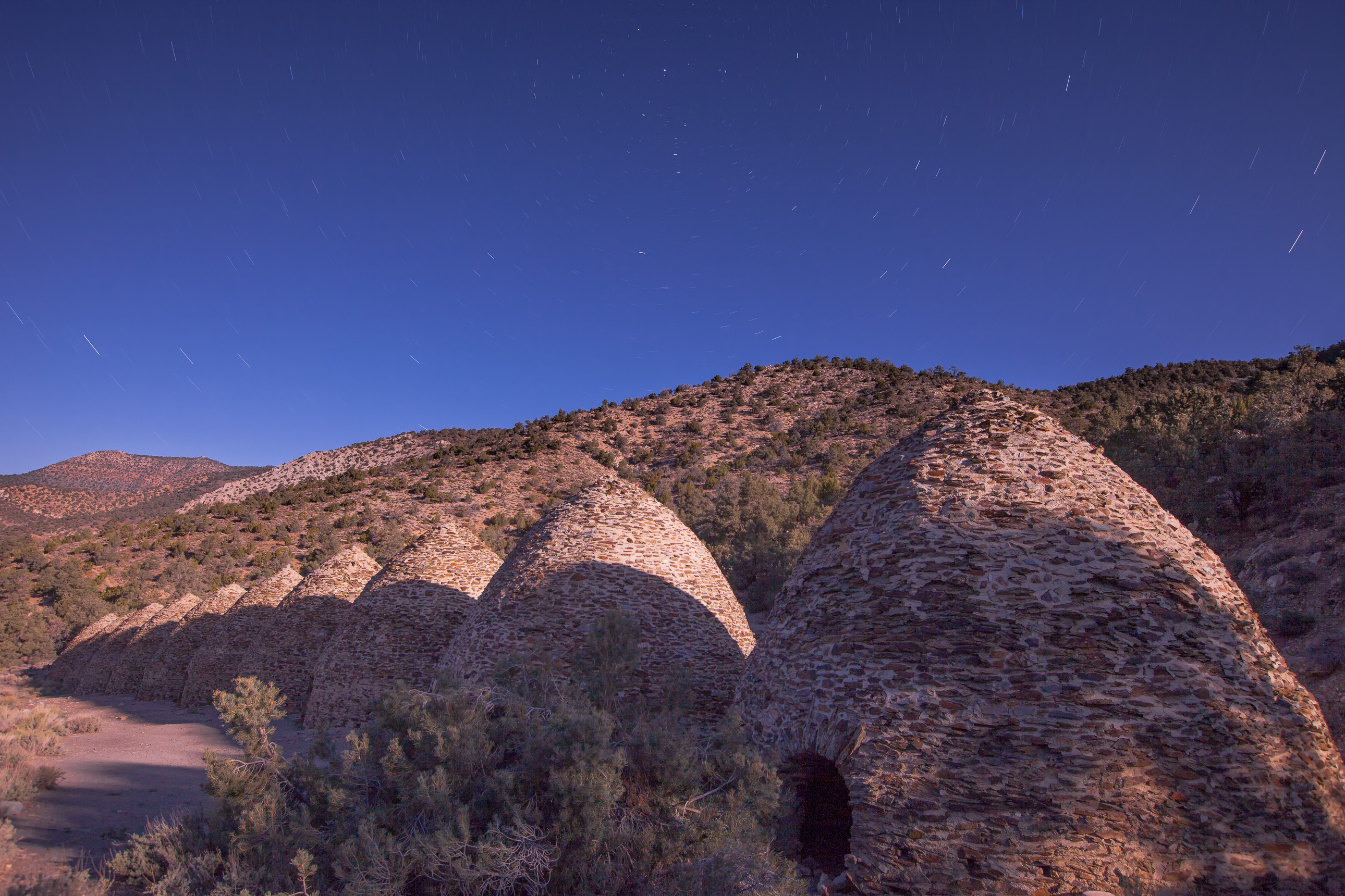 Death Valley Charcoal Kilns at night