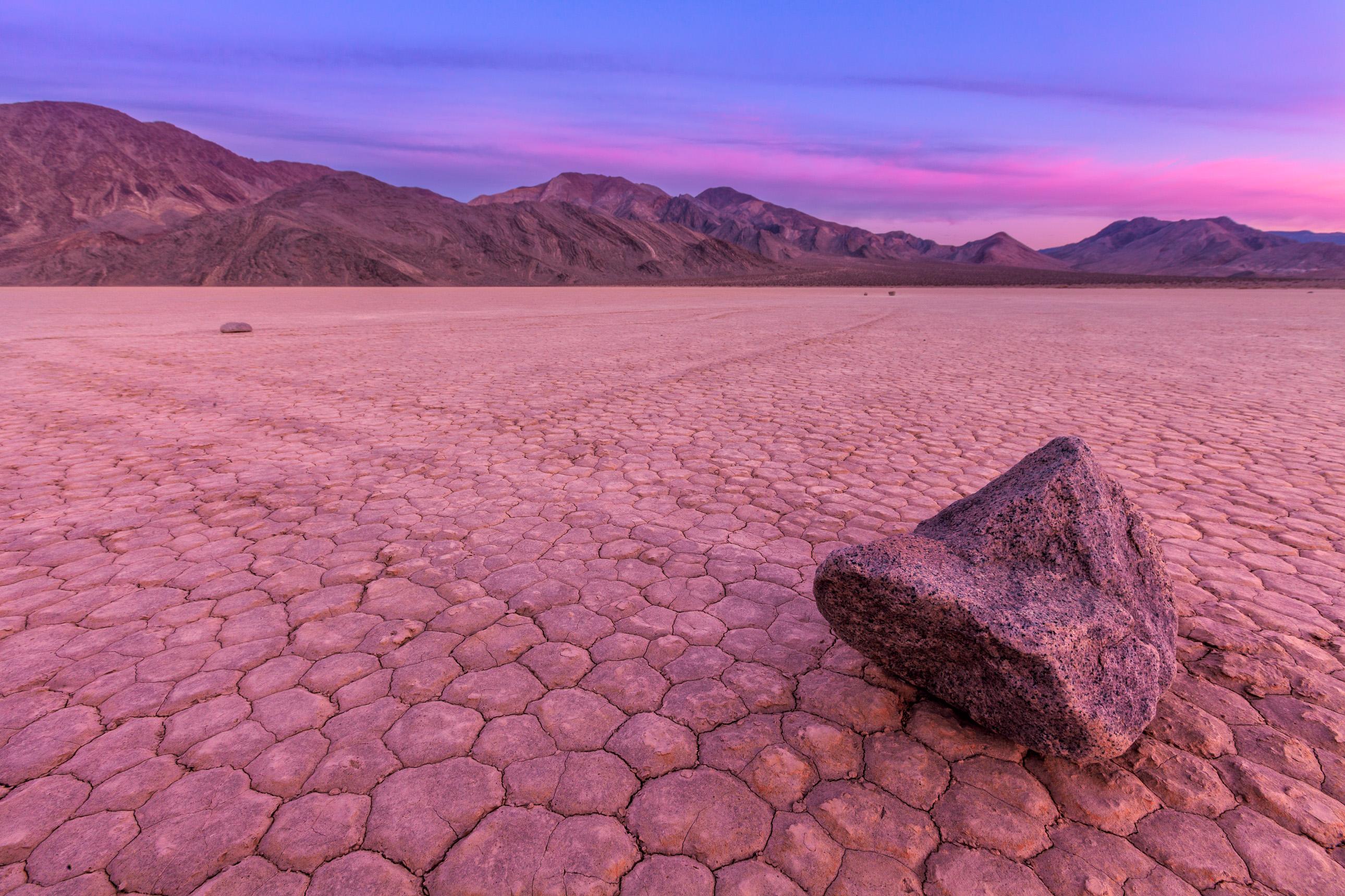 Racetrack Playa sailing stones in Death Valley