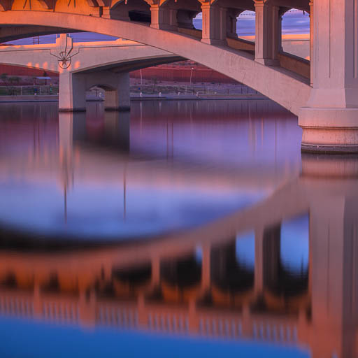 Mill Avenue Bridge reflecting on Tempe Town Lake