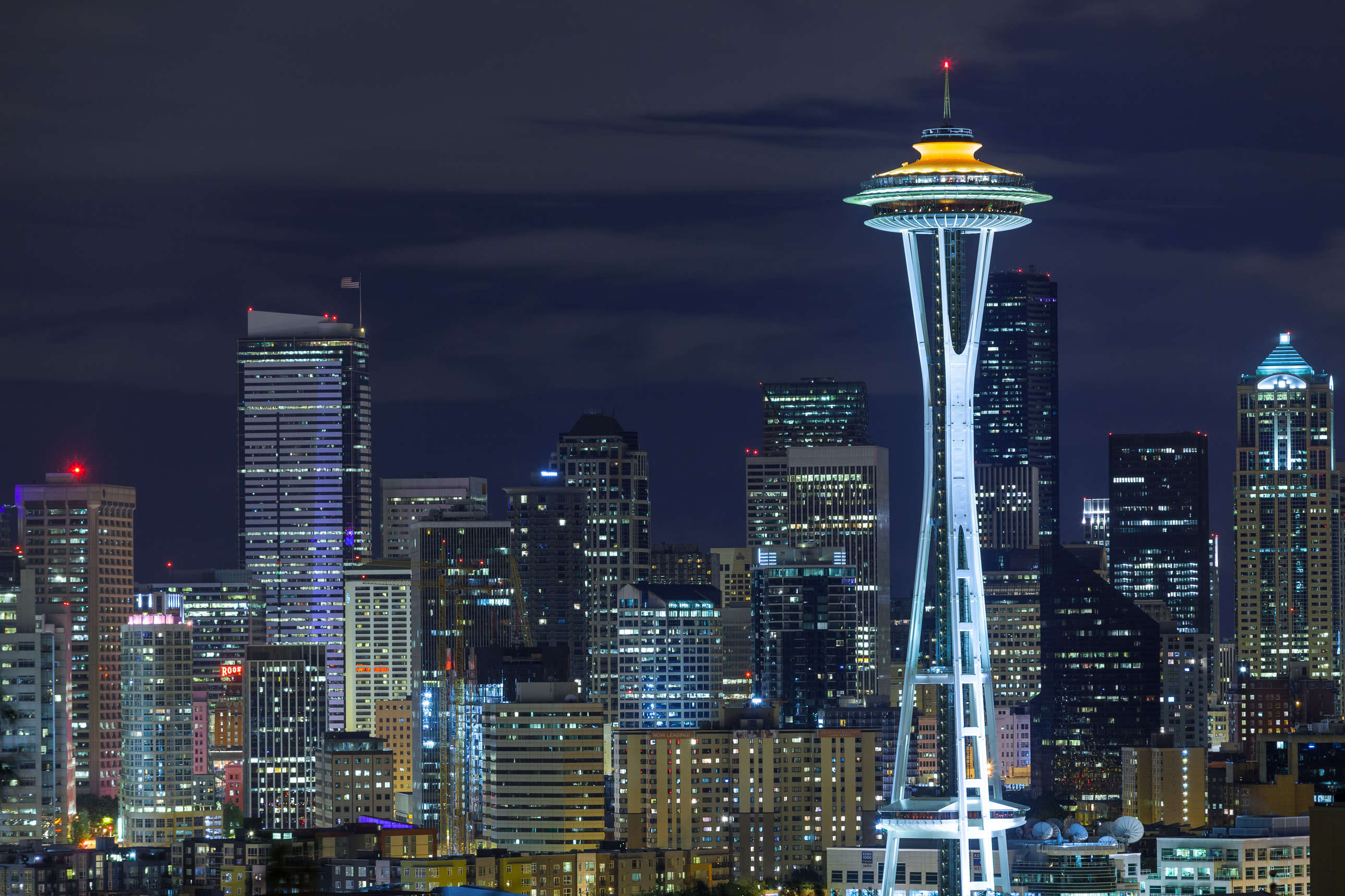 Space Needle at night from Seattle's Kerry Park