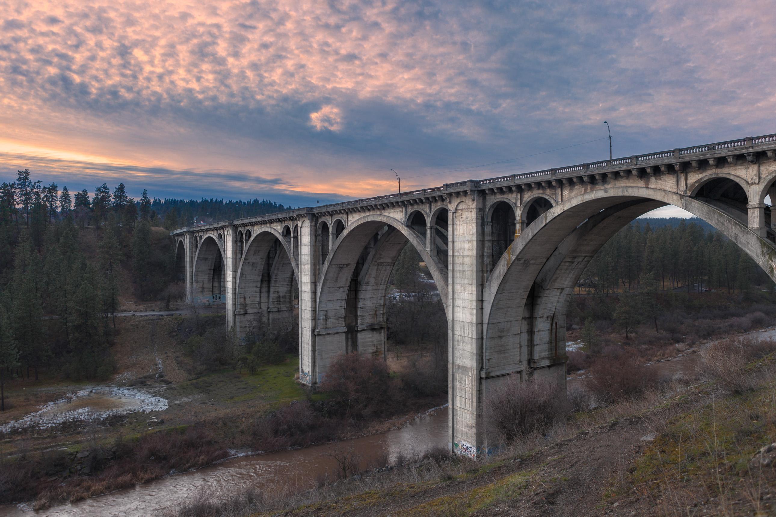 Sunset Boulevard bridge in Spokane Washington