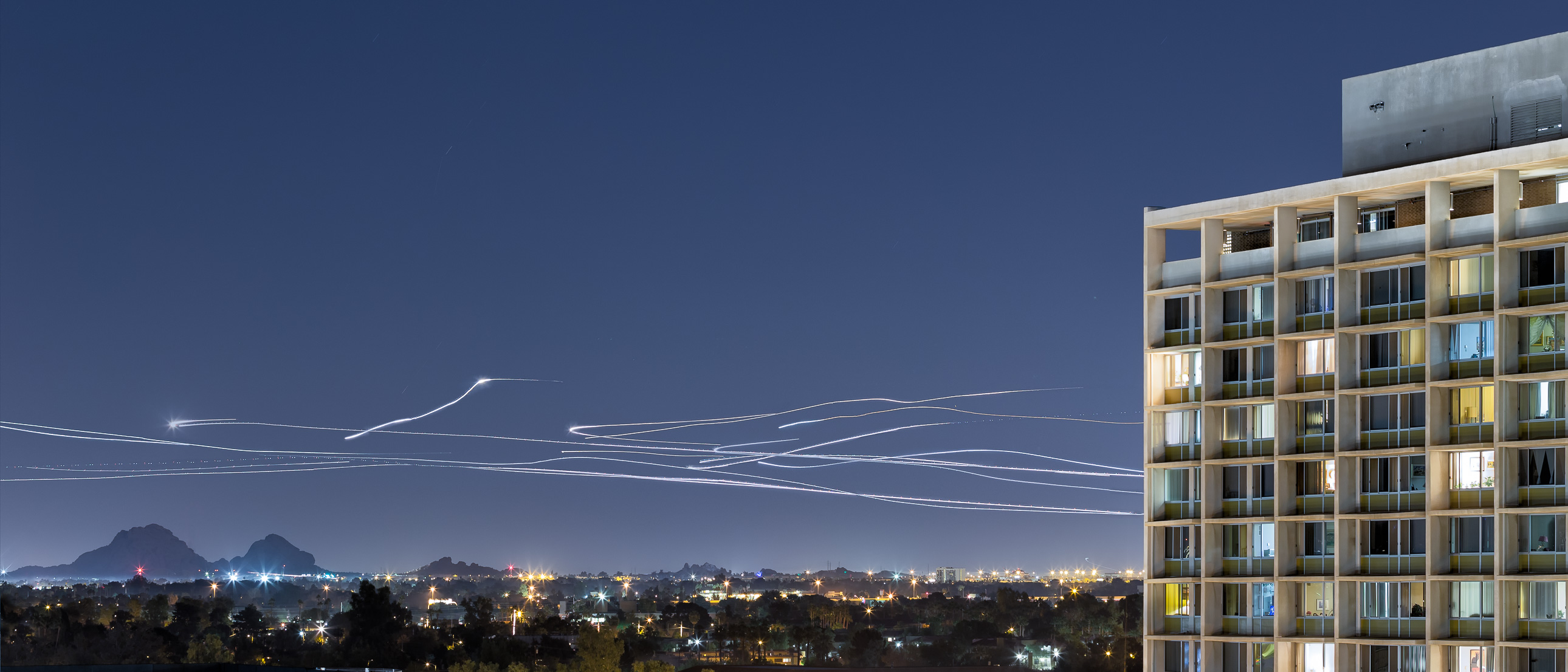 Airplane light trails landing at Sky Harbor