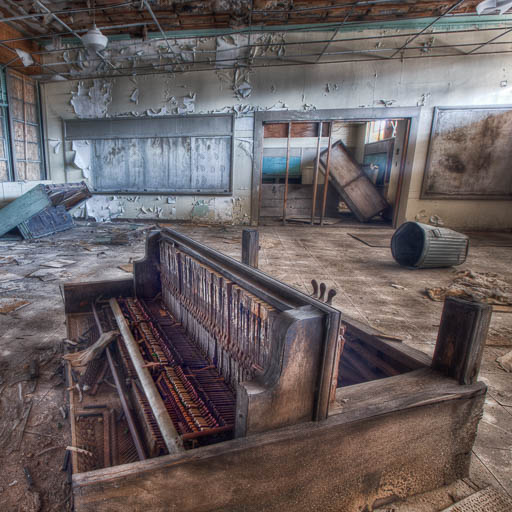 Piano in an abandoned school