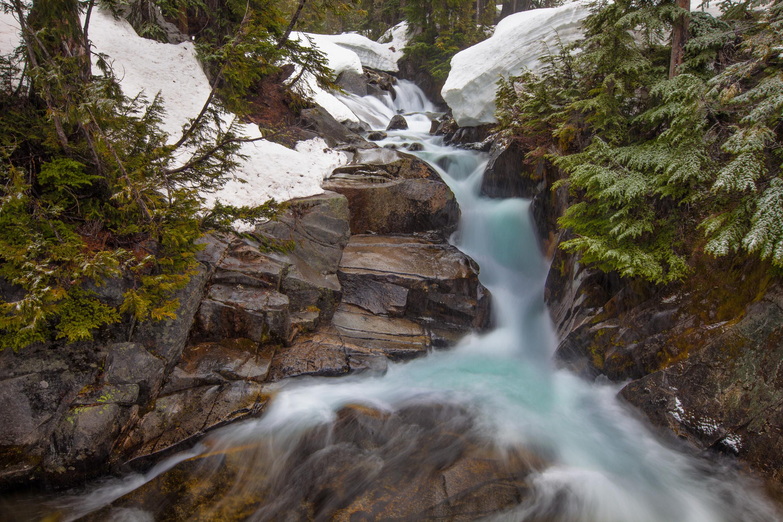 Blue waterfall on Mount Rainier