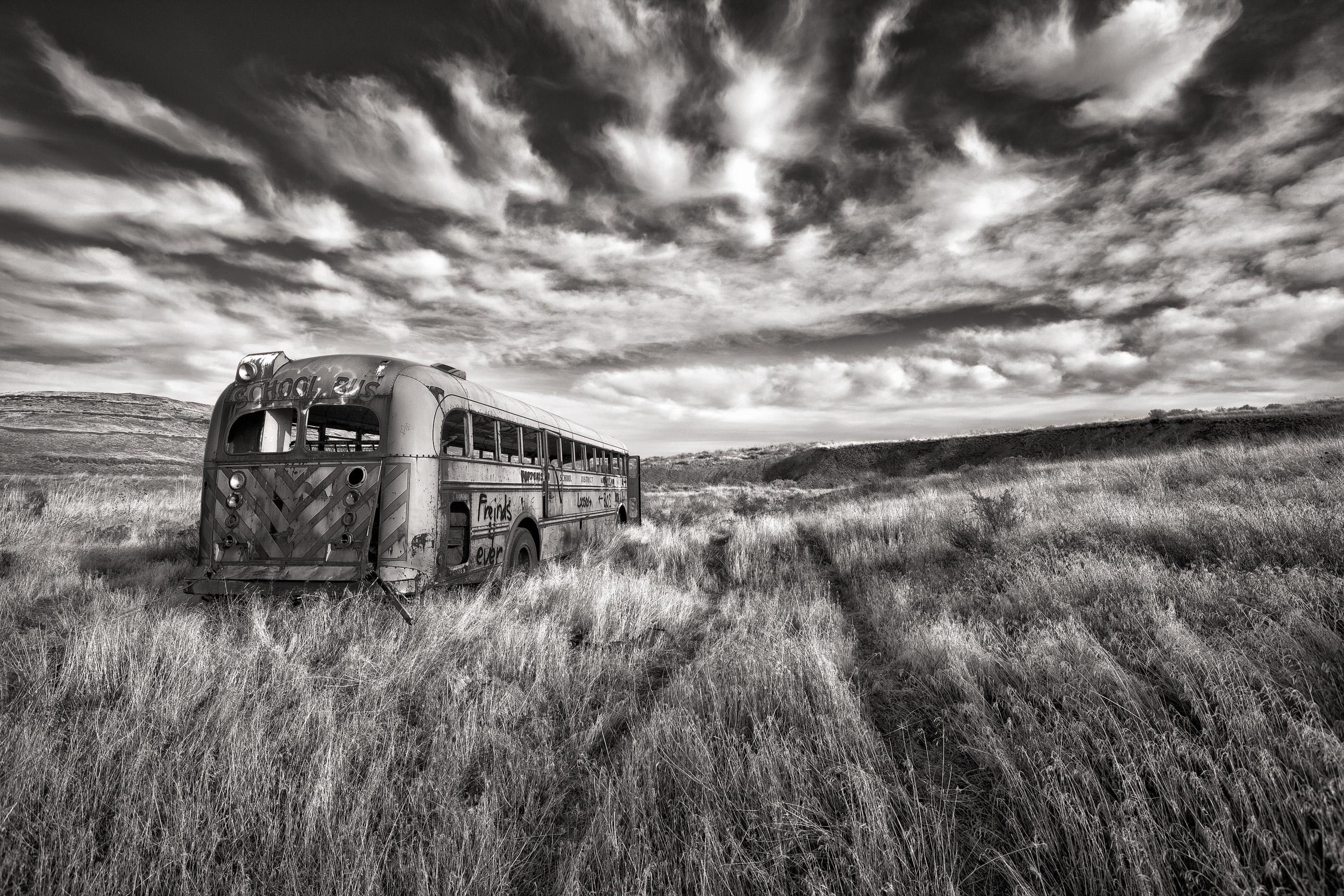Abandoned school bus on a farm in Washington