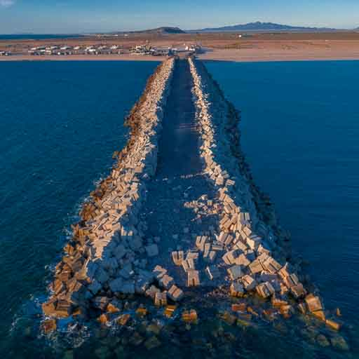 Photo of the stone jetty at the cruise ship port in Rocky Point Mexico